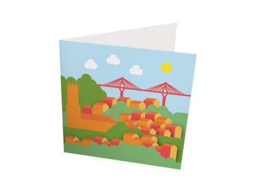 """Cartes - """"illustration de la ville de Fribourg et le pont de la Poya"""""""