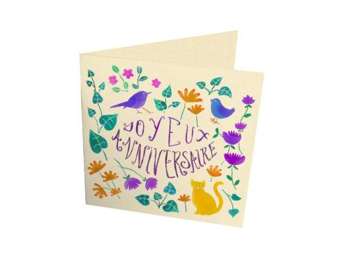 """Cartes - """"Joyeux anniversaire avec chat oiseaux fleurs"""""""
