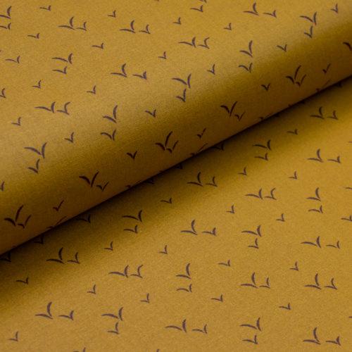 toile-ciree-coton-enduit-teflon-vol-d-oiseaux-jaune-moutarde-noir