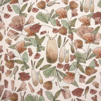 """Jersey Bio-Baumwolle """"Flowery Friends"""" (beige-braun/grün) von lillestoff"""